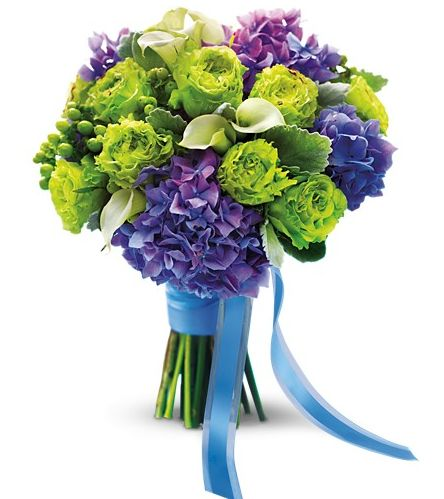 Green garden roses, purple hydrangea and mini white callas make up this bright green and purple bouquet.
