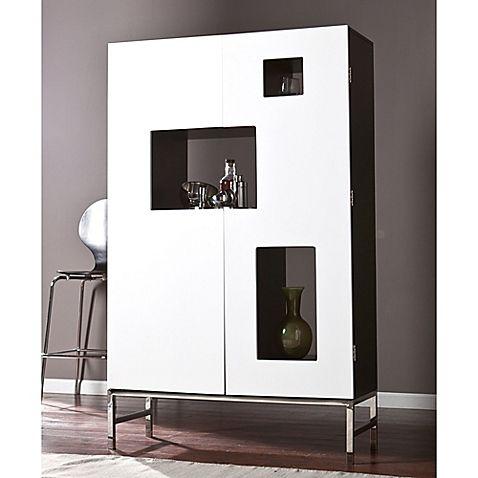 Southern Enterprises Shadow Box Wine/Bar Cabinet in Black/White