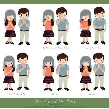 catholic prayer sign of the cross clip art set clip art students reading clip art student behavior