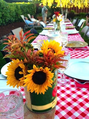 italian dinner party sunflower table centerpieces