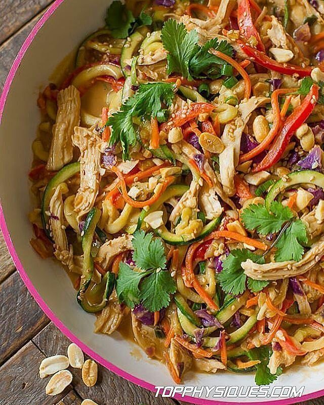 Instagram media by fitness_recipes - Also check @detox_recipes . Peanut Chicken Zucchini Noodles Credit: sallysbakingaddiction.com - Ingredients: 2 Tablespoons sesame oil (you'll need more for the peanut sauce below)1 2 teaspoons minced or chopped garlic 1 cup shredded carrots 1 cup thinly sliced cabbage (I use red) 1 large bell pepper, thinly sliced (I use red) 3 large zucchini, spiralized into noodles4 2 large chicken breasts, cooked & shredded (about 2-3 cups)2 Toppings: 1 Tablespoon…