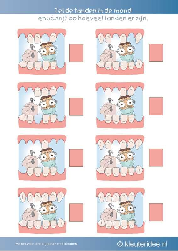 Hoeveel tanden zijn er in elke mond, kleuteridee.nl , thema tandarts voor kleuter, Count the teeth in the mouth, free printable.