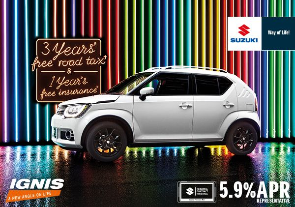Suzuki Ignis - the edgy little car now with 3 years free road tax as well as 1 years free insurance!
