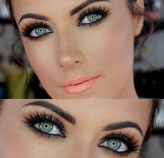 dramatic eye with soft peach lip-i like more of the nude lip but I like the idea of this