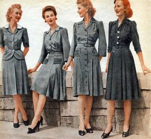 By the WWII 's effect, women fashion early 1940s 's trend was the military and uniform. I think these costume showed a clearly look for the time 1940-1945 fashion. 1940s during WWII was the dark time of fashion, because of saving fabric for serving army and the war, women clothes became shorter, ulitity,hemlines were even higher than before.Color of the war nany, green,brown was popular