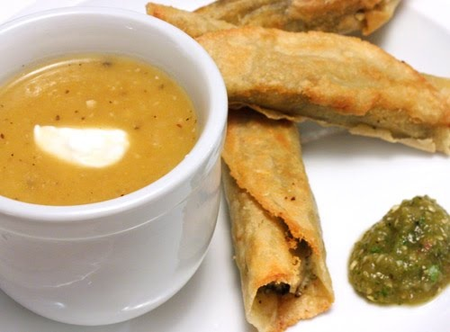 Roasted Pumpkin Soup, Cheese Flautas with Cilantro Pesto and Salsa ...