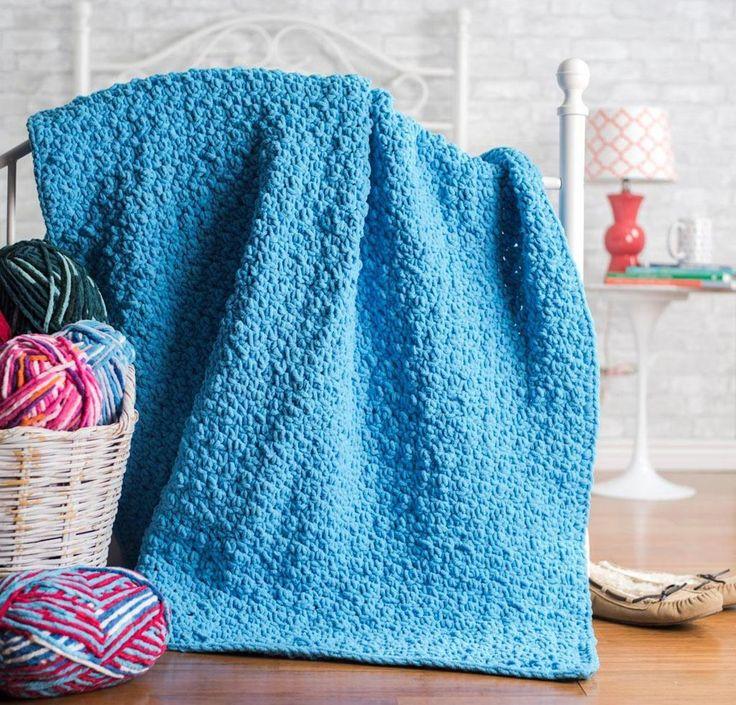 Pebble Stitch Throw Crochet Kit by Yarnspirations featuring Bernat Blanket Yarn