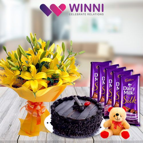 Gifts are the best way to win anyone's heart. A gift consisting of #cake, #flowers and teddy bear is perfect if you want to wish Happy birthday, anniversary or just want to send a smile. Send your gift from #Winni