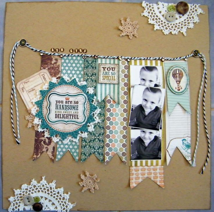 photostrip in banner + doilies :Samantha BoBunny layout...new to do this for Conie.. Reminds me of that shabby chic;)