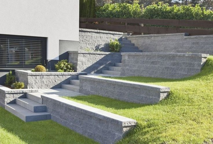 Betonplatten für terrassierten Garten und Stufen im Außenbereich