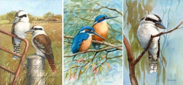Prints – Kookaburras. Rhonda's Art is a collection of original watercolour, mixed media and silk paintings by Gosford artist Rhonda N. Garward.