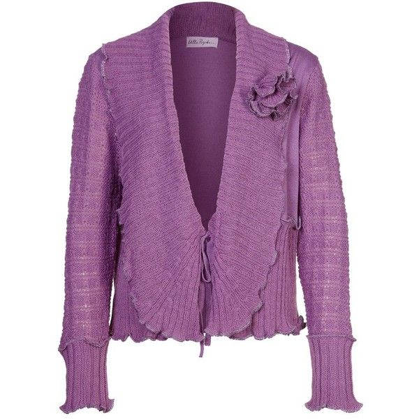 Ulla Popken Cardigan ($58) ❤ liked on Polyvore featuring tops, cardigans, purple, women's outerwear, lace up top, purple cardigan, lace up front top, cardigan top and lace front top