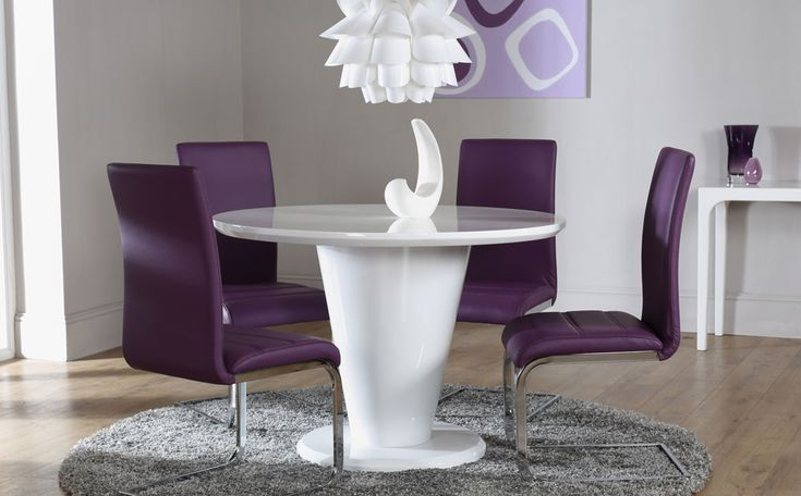 The Paris White High Gloss Round Dining Table and 4 Chairs Set (Perth Purple) at Furniture Choice