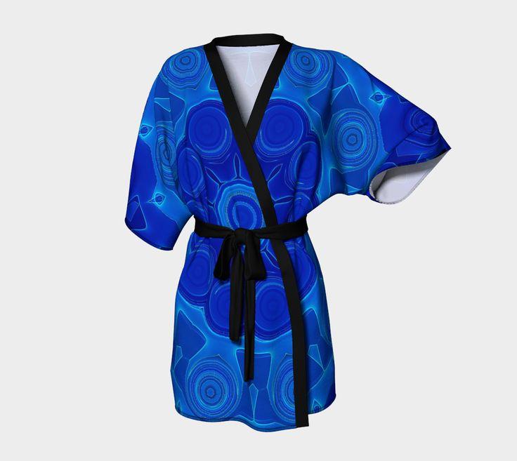 #Kimono Robe #Blue Mandala Flower Art