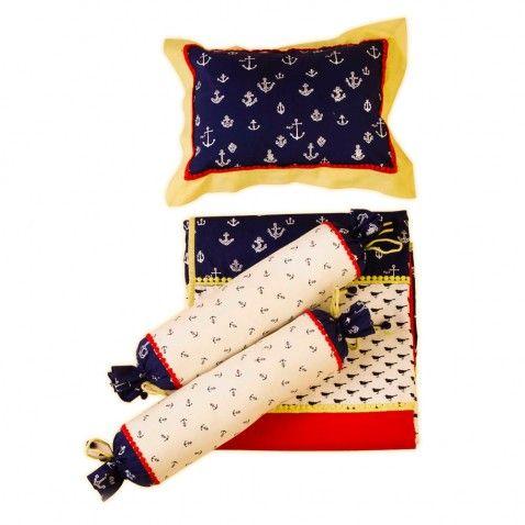 Baby Jalebi Baby Boy Bedding Ahoy Nautical Blanket Bolster & pillow set