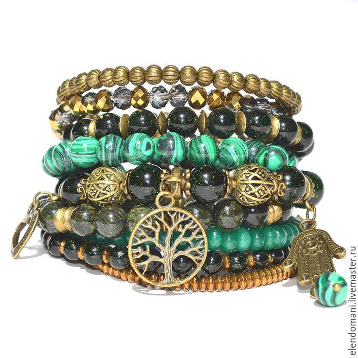 """Купить Браслет """"Green miracle"""" - зеленый, авантюрин, хризопраз, гематит, многорядный браслет, многослойный браслет"""
