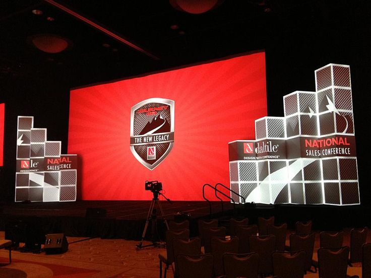 Large Background printed flat or projected surface.  Side design elements with Video Mapping