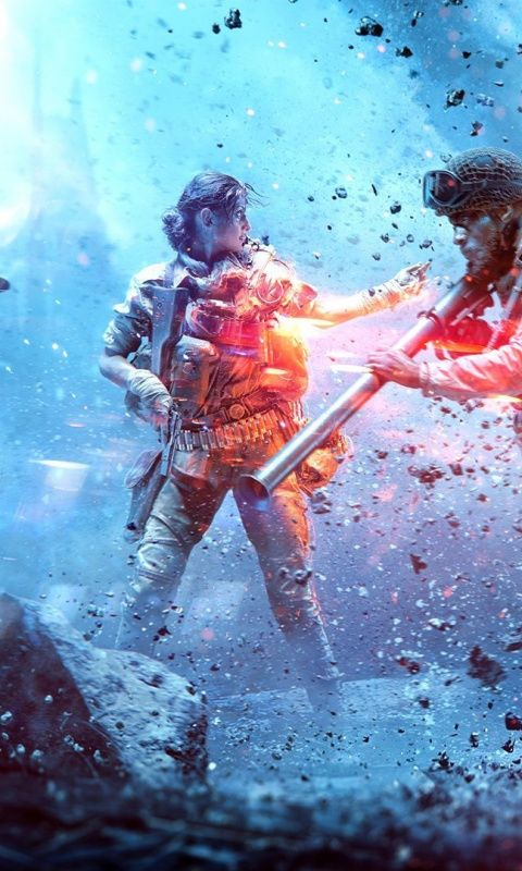 Soldiers, video game, Battlefield V, 480x800 wallpaper