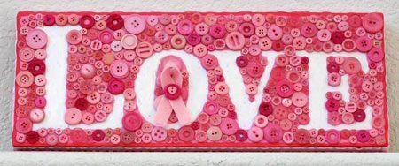 Button Art – Pink Ribbon Love Plaque by Jen Goode