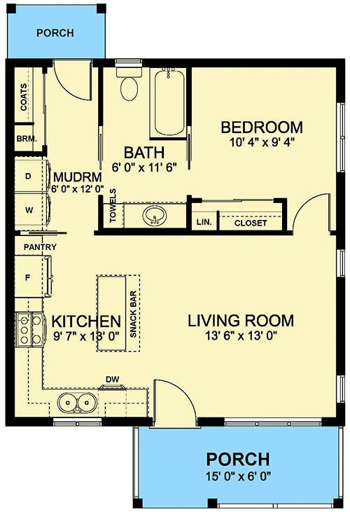 Plan 67754MG: Gemütliches, winziges Haus mit Giebelveranda