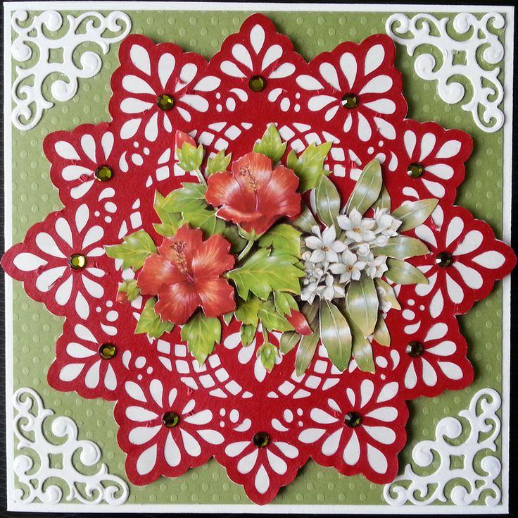 carte scrapbooking, 3d bouquet d'hibiscus - carte postale et autre cartes - La carterie de Vitine - Fait Maison