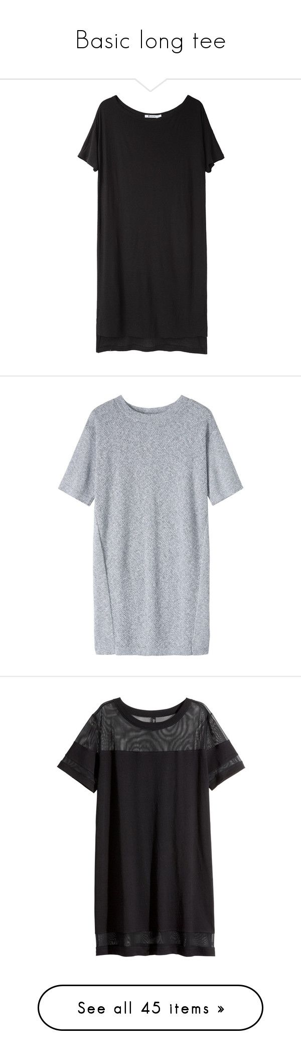 """Basic long tee"" by mam-ka ❤ liked on Polyvore featuring dresses, Tee, longtee, tops, vestidos, black, boat neck dress, jersey dresses, t-shirt dresses and short sleeve tee shirt dress"