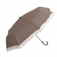 Galzone Stylový skládací deštník s dekorem puntíků a lemováním
