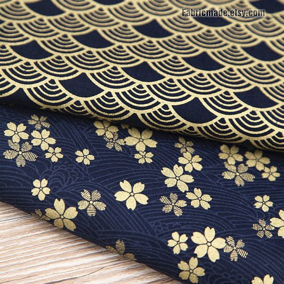 Kimono Cotton Fabric Dark Blue Cotton With Gilding by fabricmade