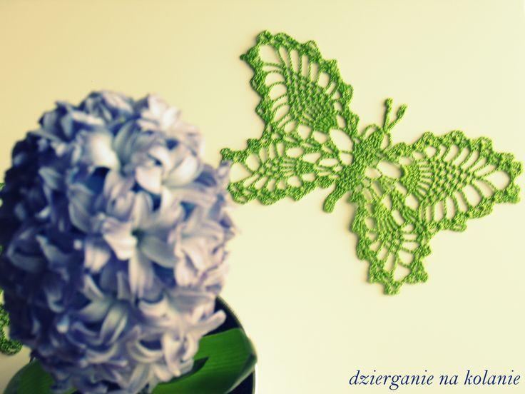 Dziergany motyl + hiacynt/Crocheted Butterfly and hyacinth. https://www.facebook.com/dzierganienakolanie?ref=hl