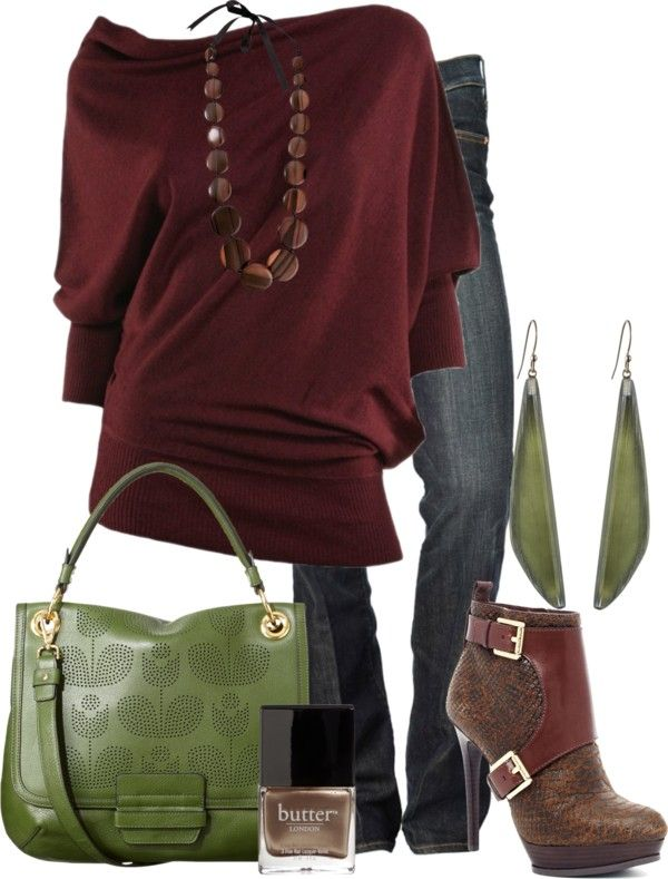 """cranberry & olive"" by lagu on Polyvore"