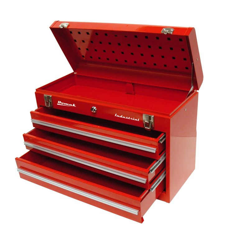Homak 20in 3 Drawer Friction Toolbox Red Tools Tool