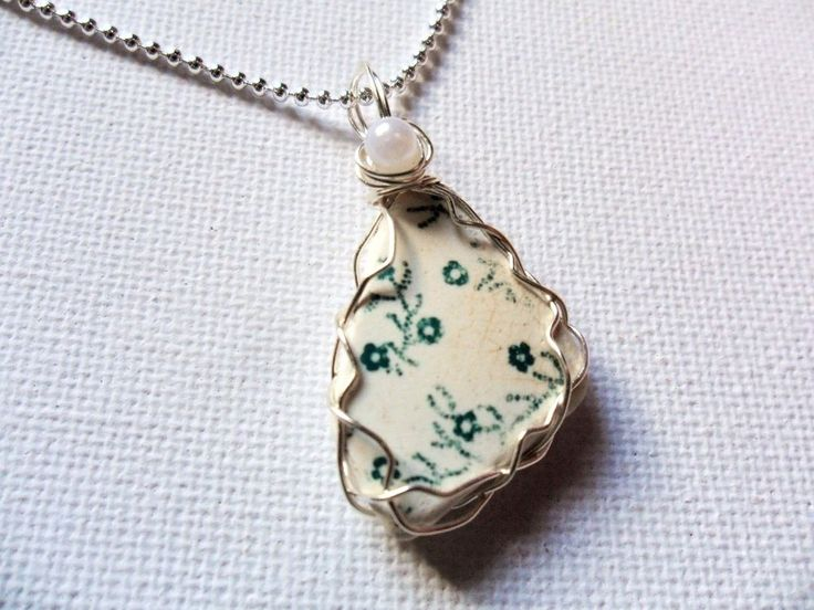 "Tiny green flowers Seaham sea pottery and white pearl wire wrapped 18"" necklace  #Handmade #NecklacePendant"