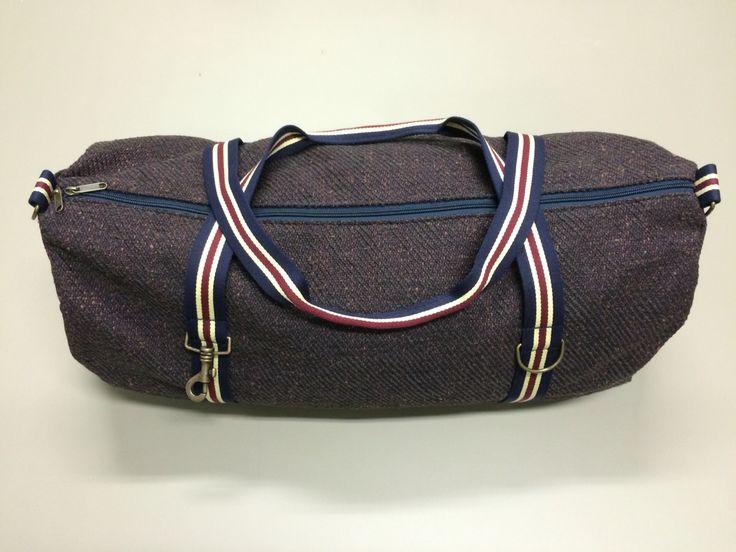 mod.9 - brown/violet bag - blue/burgundy/cream stripes