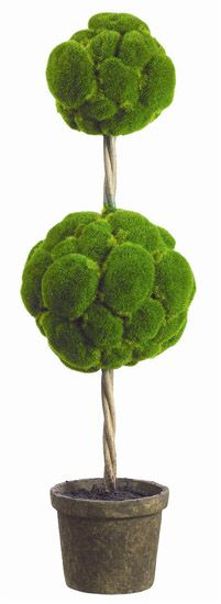 29 Inch Green Moss Ball Topiary in Paper Mache Pot
