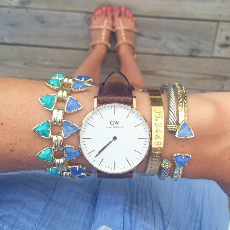 Kendra Scott jewelry & a Daniel Wellington watch #armparty