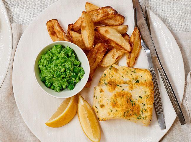 Asda Good Living   Baked fish and chips with mushy peas
