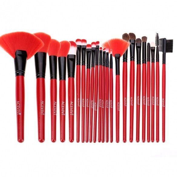New Fashion Professional 24pcs Soft Cosmetic Tool Makeup Brush Set Kit With Pouc…