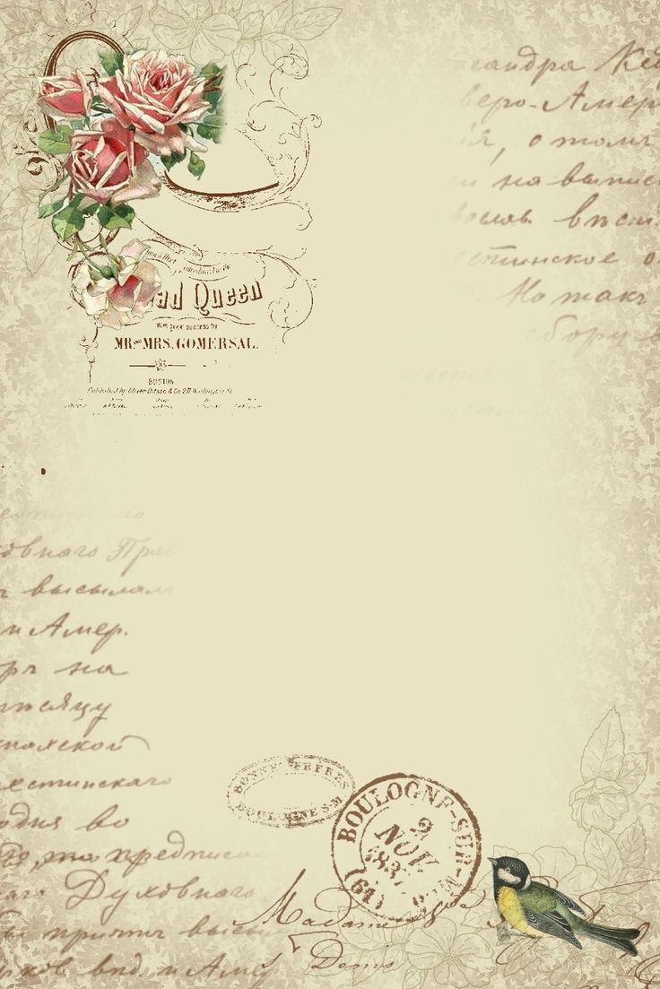 Astrid's Artistic Efforts: Springtime in Paris freebie sheet with roses, bird, postmarks, bird - large 736 × 1103