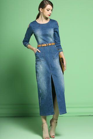 99.00 Blue Denim Slit Maxi Dress d1602081f48a