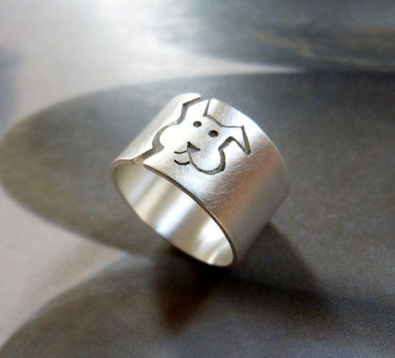 Anillo perro, anillo de plata esterlina, banda ancha, pet personalizado, regalo de amante de perro, regalo de cumpleaños, pet memorial joyería, joyería de perro, regalo para ella