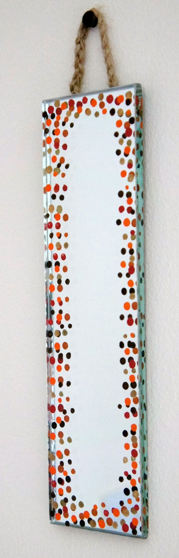 funky dotty design - hand painted mirror tile