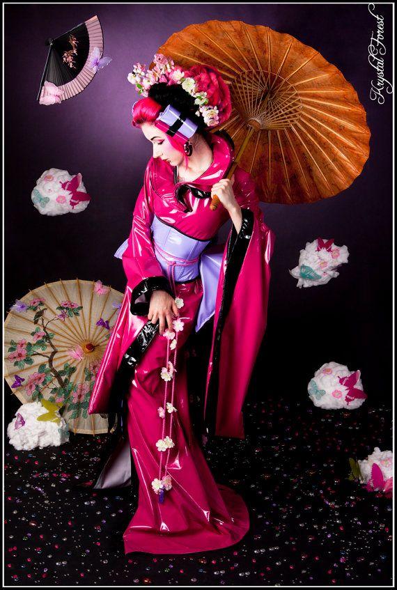 Garden Geisha kimono dress vinyl PVC lolita kawaii by blacknorns, €243.00