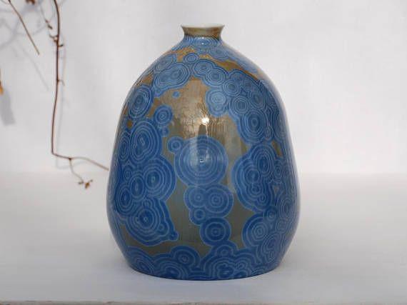 Crystalline porcelain bottle blue crystal pottery vase