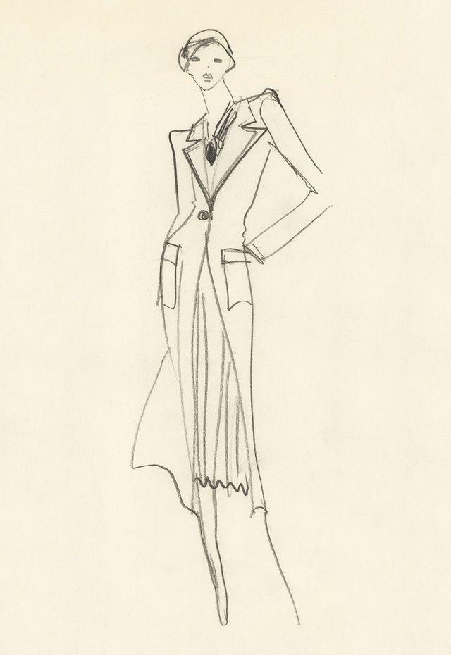 1974 - Yves Saint Laurent, Sketch for Annie Duperrey in 'Stavisky' directed by Alain Resnais