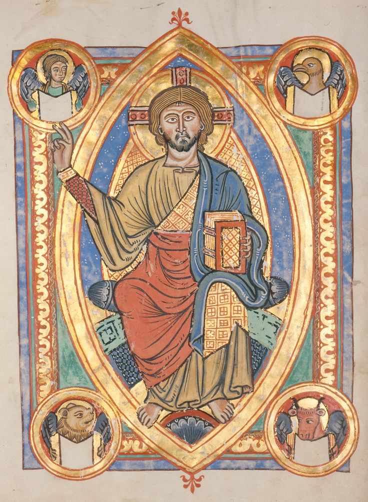 """Christ in Majesty within a mandorla-shaped aureola in a medieval illuminated manuscript"""