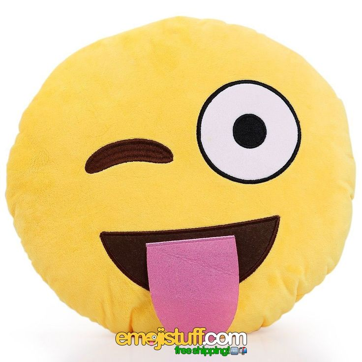 """The official name for this emoji is """"Face With Stuck-Out Tongue And Winking Eye"""" but we like to call it the wacky face!  This is a perfect one for someone who likes to have fun, is a bit wild and silly.  Somebody who loves to joke around.  This emoji pillow will add a bit of fun and character to your home, office, or car.  The tongue is actually 3D, which makes it even cooler!"""