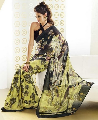 yellow and black floral printed sari £34