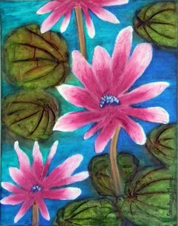 """Pink Padma- The Lotus"""" is a beautiful artwork of abstract Pink Lotus. The artwork is a part of the """"Padma-The Lotus"""" series, done on Canvas and has embossed flowers and leaves.The leaves are worked with clay and the flowers are worked with paper."""