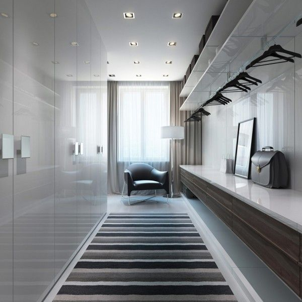 - Closet Idea -   Recessed lighting is neat and on point in this luxury dressing area.