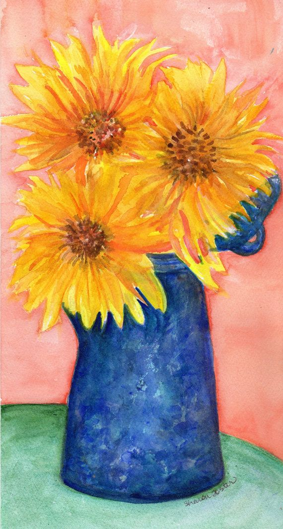 Sunflowers Painting Watercolor Original Home by SharonFosterArt, $20.00